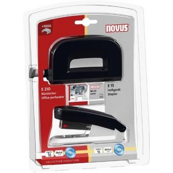Agrafador 15 Folhas + Furador 10 Folhas Metal Novus E15 /E210 Preto