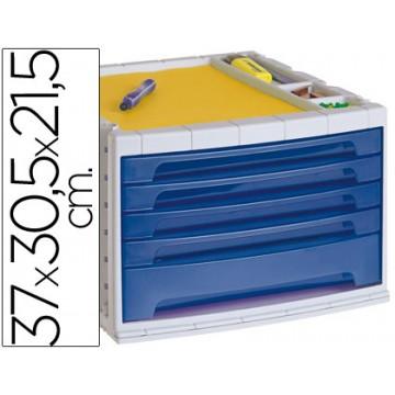 Bloco Classificador 5 Gavetas Plástico Com Bandeja Organizadora Superior Translucido Azul