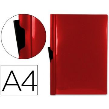 Classificador A4 clip Lateral Transparente 60 Folhas Vermelho