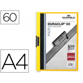 Classificador A4 clip Lateral 60 Folhas Durable Amarelo