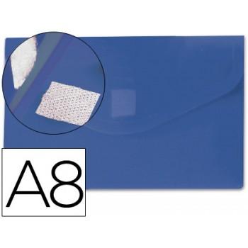 Envelope Plástico A8 com Velcro Azul