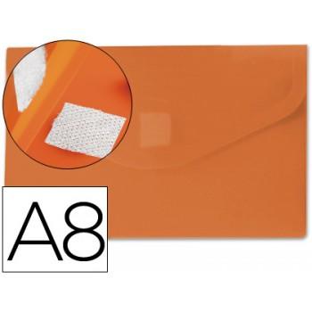 Envelope Plástico A8 com Velcro Laranja 12 Unidades