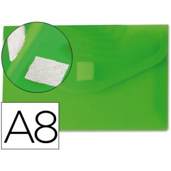 Envelope Plástico A8 com Velcro Verde 12 Unidades