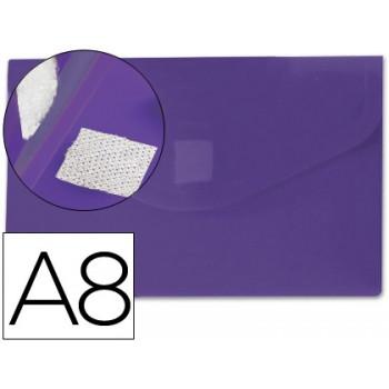Envelope Plástico A8 com Velcro Violeta 12 Unidades