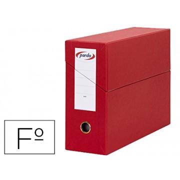 Caixa Transferências Folio Forrado Lombada 80mm 27x39cm Vermelha