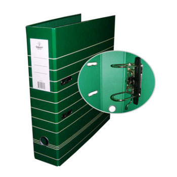 Pasta Arquivo Lombada 80mm Larga A4 Riscas Cinza Smart Verde
