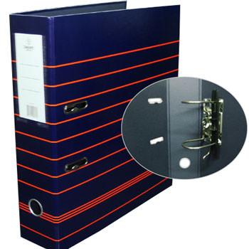 Pasta Arquivo Lombada 80mm Larga A4 Riscas Vermelhas Smart Azul