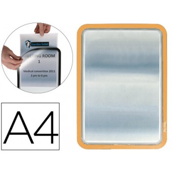 Moldura Porta Anúncios Magnética A4 Tarifold Laranja - 2 Unidades