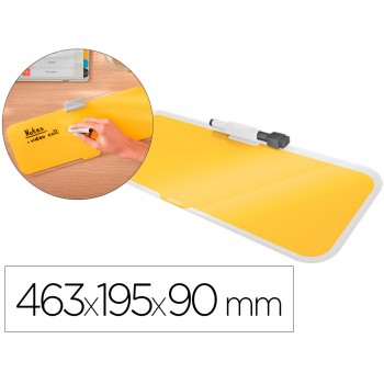 Quadro Branco de Vidro para Secretária 46,3x19,5x9cm Amarelo Leitz Cosy