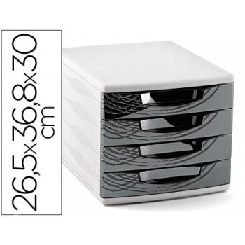 Bloco Classificador 4 Gavetas Plástico 265x368x300mm Preto