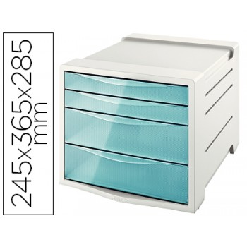 Bloco Classificador 4 Gavetas Colour Ice 245x365x285mm Azul Esselte