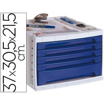 Bloco Classificador 5 Gavetas Plástico Com Bandeja Organizadora Superior Azul Opaco