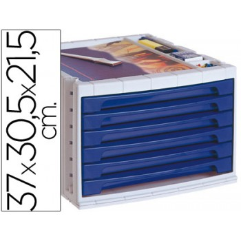 Bloco Classificador 6 Gavetas Plástico Com Bandeja Organizadora Superior Azul Opaco