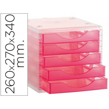 Bloco Classificador 5 Gavetas Plástico 340x270x255mm Translucido Rosa