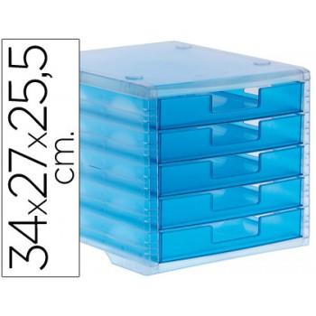 Bloco Classificador 5 Gavetas Plástico 340x270x255mm Translucido Azul