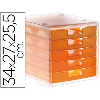 Bloco Classificador 5 Gavetas Plástico 340x270x255mm Translucido Laranja