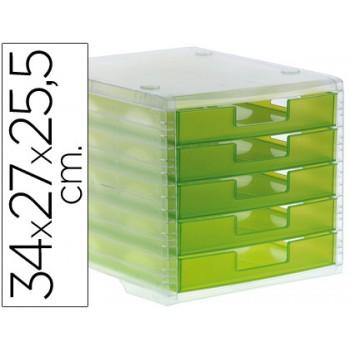 Bloco Classificador 5 Gavetas Plástico 340x270x255mm Translucido Verde