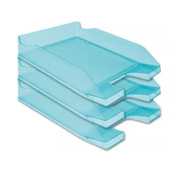 Tabuleiro de secretária em Plástico A4 Azul Turquesa Transparente 6 Unidades