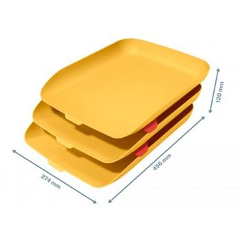 Tabuleiro de secretária em Plástico Conjunto 3 Unidades Amarelo Leitz Cosy