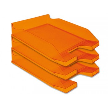 Tabuleiro de secretária em Plástico A4 Laranja Transparente 6 Unidades