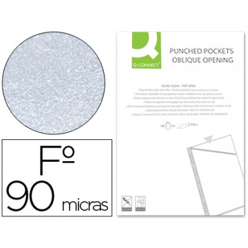 Bolsa Catálogo A4 Com 4 Furos 90 Microns Corte Oblíquo Q-Connect 100 Unidades
