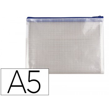 Bolsa Multiusos A5 PVC Abertura Superior com Fecho Azul Q-Connect