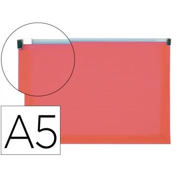 Bolsa Plástica A5 Com Fecho (Zip) Vermelho Translúcido 10 Unidades