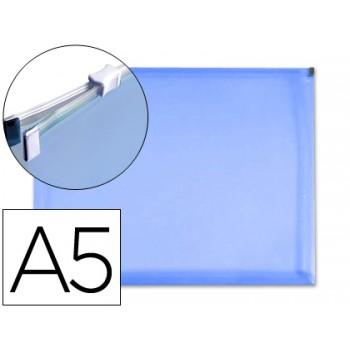 Envelope Plástico A5 Com Fecho Eclair Azul