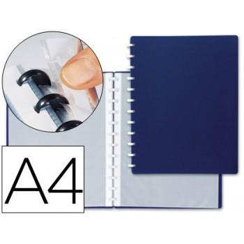Pasta Portfólio Com Anéis Plásticos A4 20 Bolsas Removíveis Azul