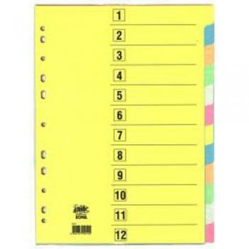 Separadores Cartolina A4 Numerados 1-12 de 180grs
