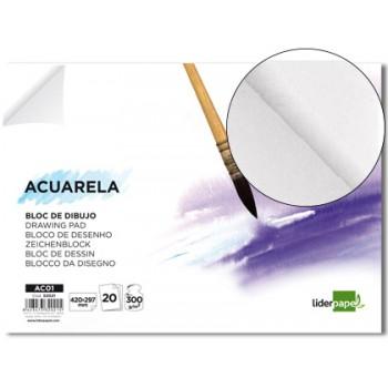 Bloco de desenho A4 20 Folhas 300Gr  Aquarela Liderpapel