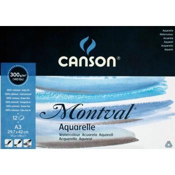 Bloco de desenho A3 12 Folhas 300gr Aquarela Canson Montval