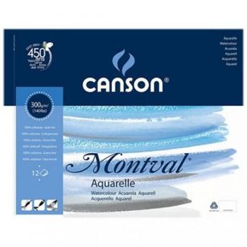 Bloco de desenho A4 12 Folhas 300gr Aquarela Espiral Canson Montval