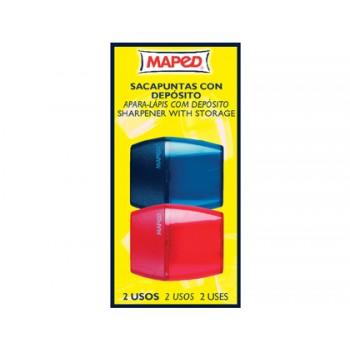 Apara Lápis 2 Furos Plástico Com Deposito Bister 2 Unidades Maped
