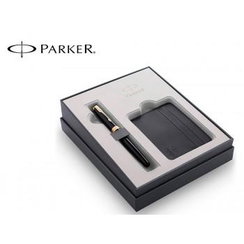 Conjunto Parker Caneta Sonnet Preto GT + Porta Cartão