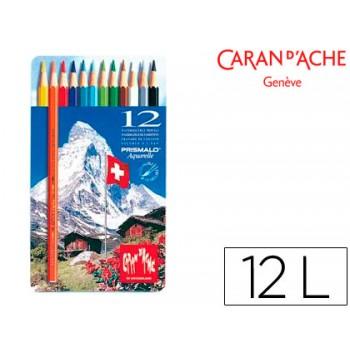 Lápis de Cor Aquarela Prismalo Com 12 Caixa de Metal Caran D´Ache