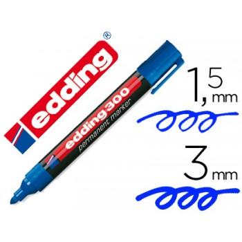 Marcador Permanente Edding 300 Azul -10 Unidades