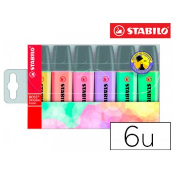 Marcador Fluorescente Pastel Stabilo Boss 70 Pack 6 Unidades
