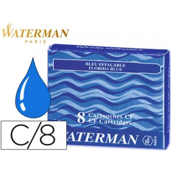 Cartucho de Tinta Waterman Azul Grande -Caixa 8 unidades