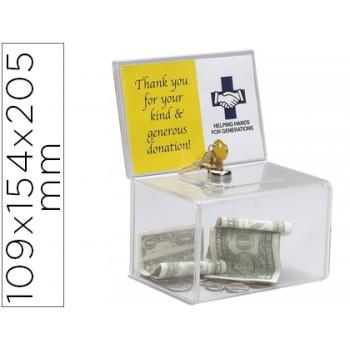 Caixa de Sugestões com Chave Poliestireno Transparente 109x154x205mm Archivo 2000