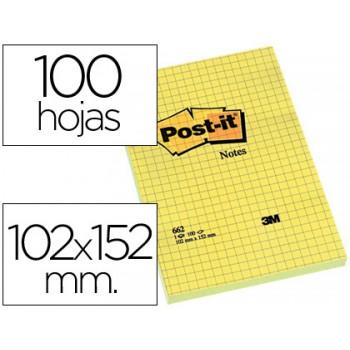 Bloco Notas Adesivo 102mmx152mm 75 Folhas Amarelo Xadres Post-It 6 unidades