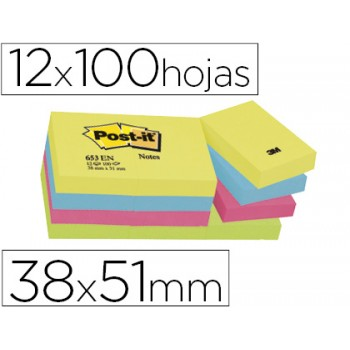 Bloco Notas Adesivo 38mmx51mm Cores Neon 12x100 Folhas Post-It 653