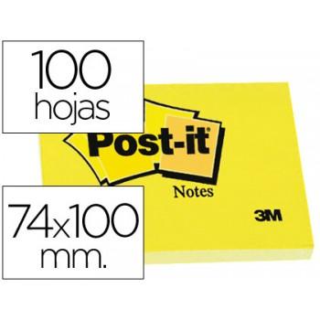 Bloco Notas Adesivo 74mmx100mm Amarelo 100 Folhas Post-It - 12 unidades