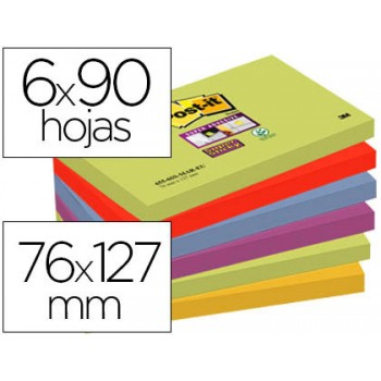 Bloco Notas Adesivo 76mmx127mm Cores Marrakesh 6x90 Folhas Post-It