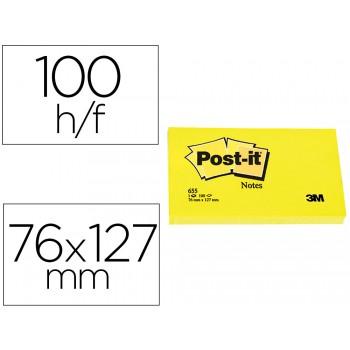 Bloco Notas Adesivo 76mmx127mm Amarelo 100 Folhas Post-It 655 - 12 unidades