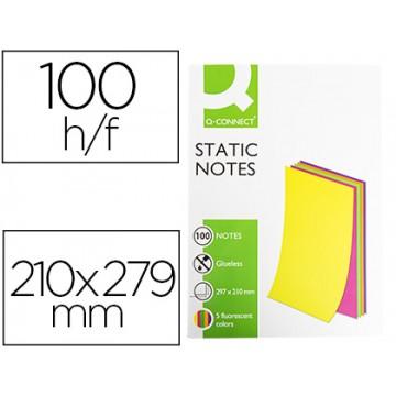 Bloco Notas Magnéticas 210x297mm 100 Folhas 5 Cores Fluorescentes Q-Connect