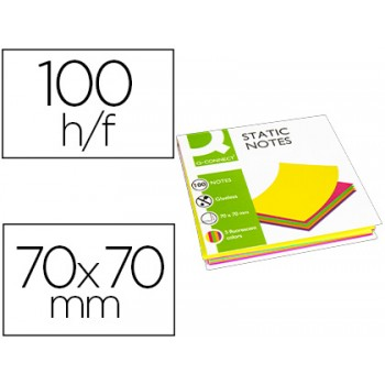 Bloco Notas Magnéticas 70x70mm 100 Folhas 5 Cores Fluorescentes Q-Connect