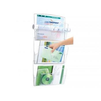 Expositor de Parede 3 Compartimentos Plástico Transparente 361x86x718mm