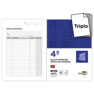 Bloco Notas de Entrega A5 155X215mm Triplicado 100 Folhas