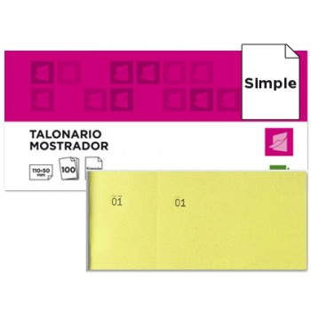Bloco Talões 6/4 Numerados Simples Amarelo Pack 20 Unidades